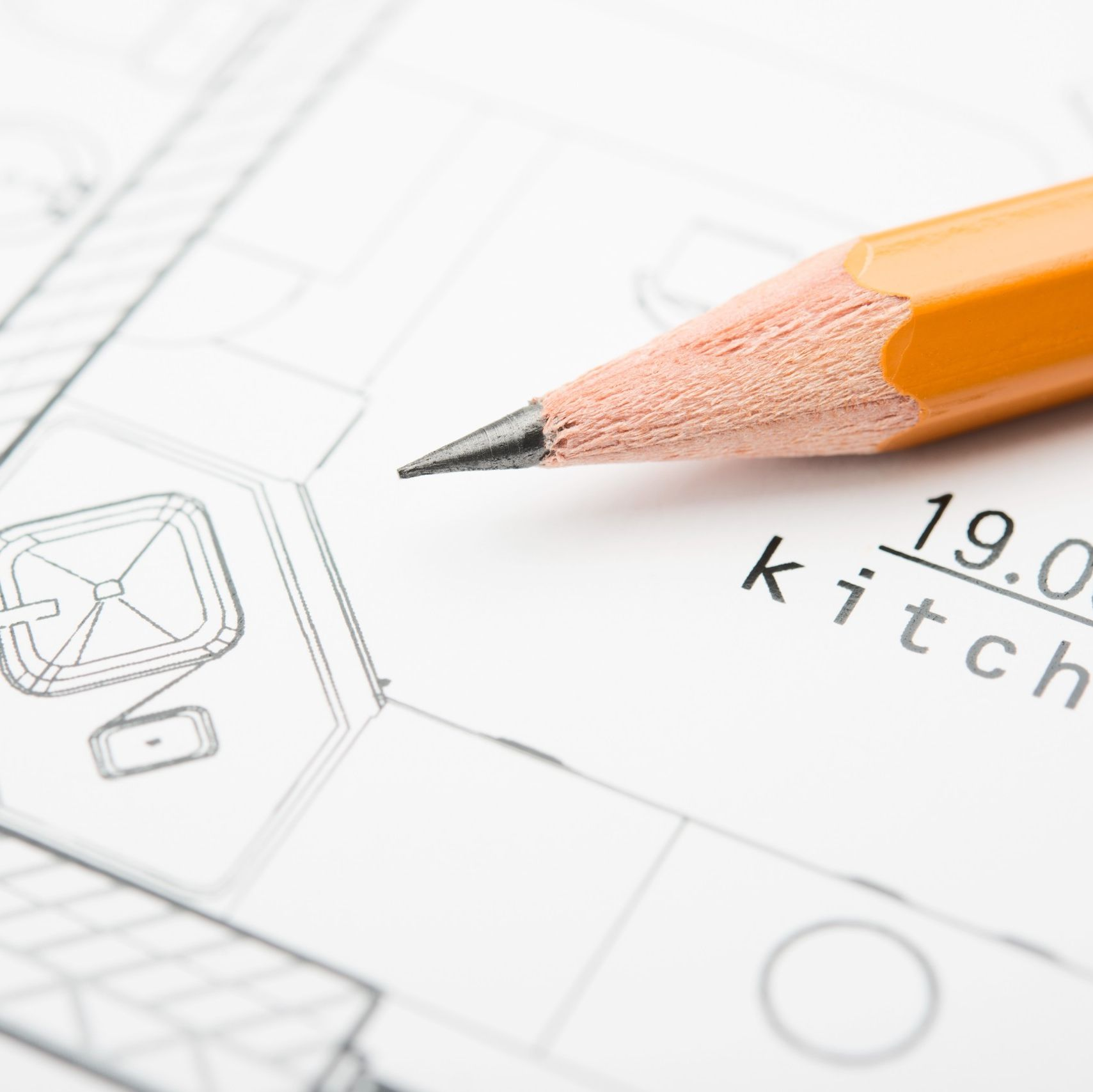 blueprints with pencil